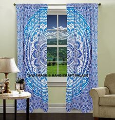 Indian hippie curtains Bohemian psychedelic Ombre-mandala Wall-hanging-tapestry-blue Queen-size-large-82x82 Inches EXCLUSIVE SOLD BY Handicraftspalace