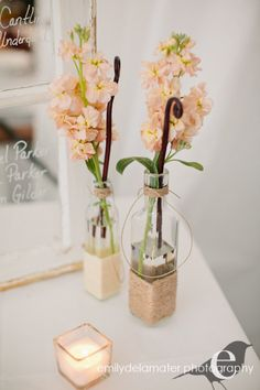 Rustic Driftwood  Hemp Twine Centerpieces Church or Pew by Jessmy, $30.00