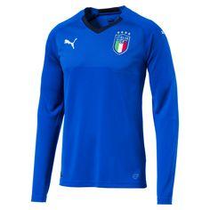 Puma Italia Long Sleeve Home Replica Jersey, Power Blue/Peacoat, size Large, Clothing Shirt Sleeves, T Shirt, Italy Soccer, Puma Mens, Football Shirts, Retro Football, Soccer Jerseys, Long Sleeve, Mens Tops
