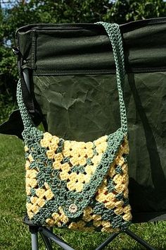 Purse/tote made with large crocheted granny squares - would be lovely lined with fabric