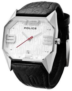 Police Men's PL-12176JS/04 Vector Silver Dial Watch Police. $215.00. Genuine leather strap. Textured police logo dial. Luminous hour hand for easy night reading. 3 d numbers. Water-resistant to 165 feet (50M)