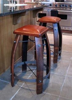 Stave Stool with Leather Seat