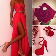 lovely dress and heels #heels #highheels #redheels #shoes #pumps #dress #eveningdress #reddress