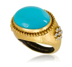 Lika Behar - RAM-R-107-GTRQ.  7.20 c tq (O), 0.21 ctw dFUSED HAMMERED SHEET OF 24K GOLD OVER STERLING SILVER HAND MADE RAMONA RING W/ SLEEPING BEAUTY TURQ, PURE GOLD GRANULATION AND DIAMONDS #Precious_Posts @PreciousPosts