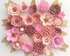 Hand made peach/pale/dusky/antique pink felt flowers/roses. Felt flower crown, flower headband, flower garland, baby headband, nursery decor