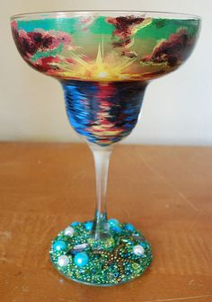 Diy beach sunset painted margarita glass Etsy listing at https://www.etsy.com/listing/184908945/hand-painted-green-beach-sunset