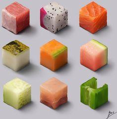 Food cube, Son Trinh on ArtStation at https://www.artstation.com/artwork/Qak8B