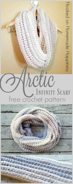 Crochet Beanie Ideas Infinity Scarf Crochet Pattern - This easy pattern turned out to be one of my favorite scarves! The Arctic Infinity Scarf Crochet Pattern is soft, squishy, and textured. Beau Crochet, Bonnet Crochet, Crochet Motifs, Crochet Beanie, Crochet Shawl, Crochet Stitches, Free Crochet, Knit Crochet, Crochet Granny