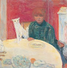 Pierre BONNARD,  France 1867 – 1947  Woman with Cat [La femme au chat] 1912   oil on canvas  78.0 (h) x 77.0 (w) cm   Musée d'Orsay, Paris
