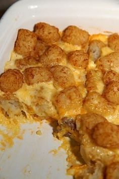 Breakfast Tater Tot Casserole on MyRecipeMagic.com - sausage, cheese, milk, eggs, and tator tots!! Awesome!