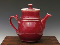 Image of Teapot with strainer for Loose Leaf Tea- Crimson Collection