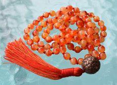 Orange Jade Agate Prayer Beads Hand Knotted Mala Beads Necklace - Hear – AwakenYourKundalini