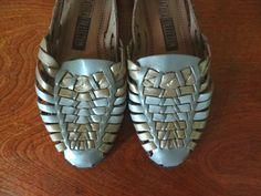 Metallic Huaraches Leather Size 7 on Etsy, $22.00