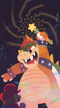 Bowser Illustration by Outlet. Super Mario Smash, Super Mario Art, Super Mario World, Metroid, Mario E Luigi, Mario And Princess Peach, Princesa Peach, Paper Mario, Video Game Art
