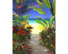 A Beautiful Painting of Tropical Garden by Shari Erickson Art Tropical, Tropical Garden, Tropical Artwork, Tropical Plants, Tropical Flowers, Art Caribéen, Art Plage, Hawaiian Art, Caribbean Art