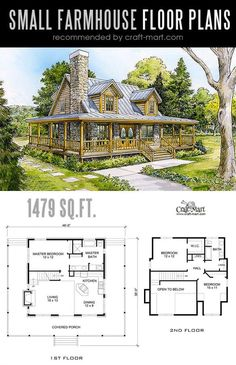 Designing and building a Romantic Small farmhouse can be a lot of fun! Look at the best small farmhouse plans that can fit almost any tight budget. Learn how you can design the best modern farmhouse and decorate it as a pro! The Plan, How To Plan, Dream House Plans, Small House Plans, Dream Houses, Log Cabin House Plans, Log Home Floor Plans, Colonial House Plans, Luxury Houses
