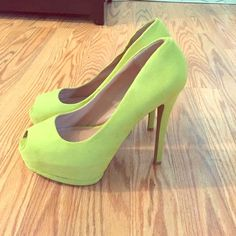 "Peep toe platform pumps Neon green peep toe platform pumps in a suede-like material. Classic style in a color that's very on trend! I only ever wore these around the store to try them on so there's minimal wear in the soles (as pictured). Approximately 5 1/2"" heel with a 1 1/2"" platform. Would fit an 8 1/2 or 9. Qupid Shoes Heels"