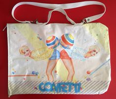 Vintage 1980s Confetti tote bag with illustration by Gerry the Cat, made in Holland by Verkerke.  Love it.