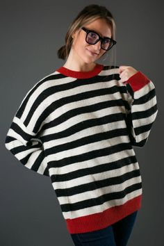 Striped Blk/Red Sweater Trendy Outfits, Cute Outfits, Fashion Outfits, Casual Date Nights, Trendy Tops For Women, Cute Boutiques, Back To School Outfits, Night Looks, Affordable Clothes