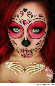 Halloween wedding face paint | Sugar skull makeup with no white face paint - LikeaLady.net