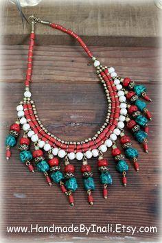 Antiguo Tibet Nepal babero gargantilla Collar por handmadebyinali