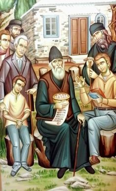 Paisios preaching to people outside his cell on the Holy Mountain ( source ) -Elder, what meaning does the prayer rope (kombosc. Byzantine Icons, Byzantine Art, The Holy Mountain, Orthodox Christianity, Prayer Book, Religious Icons, Orthodox Icons, World Cultures, Prayers