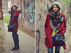 Plaid Scarf, Marc Jacobs, Satchel, Zara, Posts, Sweaters, Red, Fashion, Messages