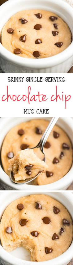 Skinny Single-Serving Chocolate Chip Mug Cake -- an easy recipe that's practically healthy enough for breakfast! Just 127 calories with of protein! (Mug Recipes Healthy) Just Desserts, Delicious Desserts, Yummy Food, Baking Recipes, Cake Recipes, Dessert Recipes, Dinner Recipes, Healthy Sweets, Healthy Baking