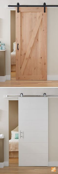 Barn Doors - Interior & Closet Doors - The Home Depot - If you're looking for a simple home upgrade, all-in-one barn door kits are a stylish way to refre - Home Upgrades, Kitchen Upgrades, Diy Barn Door, Barn Doors, Diy Door, Interior Closet Doors, Bedroom Doors, Room Interior, Interior Design