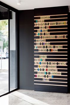 A real menu in a real dessert bar in Melbourne, featured on Vogue Living Australia, but also great inspiration for a full-wall installation at home.