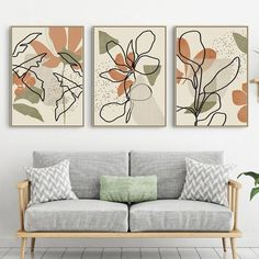 Orange Art, Green Art, Leaf Wall Art, Leaf Art, Minimal Art, Triptych Art, Art Prints For Home, Artwork Prints, Modern Artwork