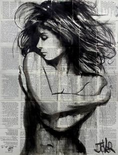 Buy equilibrium, a Ink on Paper by LOUI JOVER from Australia. It portrays: Nude, relevant to: jover,  nude,  ink, bookpages,  louijover,  originalart sumi-e ink on vintage book pages adhered together to create one sheet ready for framing as desired, part of an ongoing series of works created over the past eight years featuring women and their emotions- this work forms part of the nude series.. very popular with collectors worldwide, I am the ''original'' creator of this genre,...