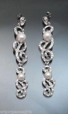 Vintage st Pearl Chandelier Crystal Earring Silver tone #Korean #Chandelier