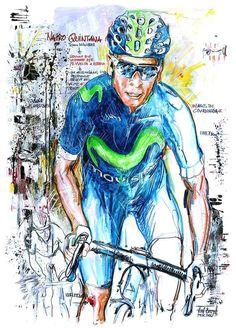 Nairo Quintana winning Stage 10 Vuelta a Espana 2016 by Horst Brozy Cycling Art, Cycling Bikes, Bike Art, Cool Bikes, Road Bike, Painting & Drawing, Stage, Illustration Art, Racing