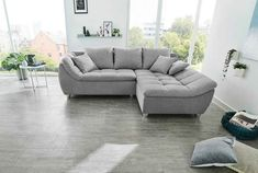Jockenhöfer Gruppe Big-Sofa | cnouch Cozy Living Rooms, Living Room Grey, Living Room Decor, Grey Corner Sofa, Gray Sofa, Angles, New Kitchen Doors, Bed Cover Design, Xxl Sofa