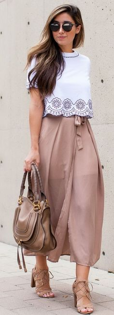 White blouse, nude midi skirt