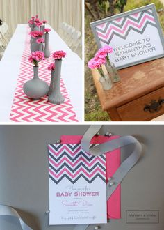 Pink and Grey Chevron Print Baby Shower | Centerpieces and Design | Anthony & Stork