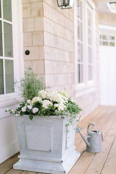 Planting Your Garden Planters: 3 Ways - Monika Hibbs - Lori Home Square Planters, White Planters, Outdoor Pots, Outdoor Gardens, Outdoor Landscaping, Outdoor Living, Balcony Garden, Garden Planters, Front Porch Planters