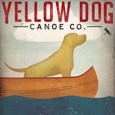 YELLOW DOG Canoe Company Labrador Retriever Graphic Art Illustration Giclee Print 16x16 Signed on Etsy, $59.00