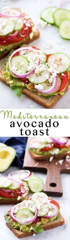 Mediterranean Avocado Toast is a spin off of my favorite veggie filled sandwich from Panera that satisfies both vegetarians and meat-lovers! A super quick and fresh, colorful sandwich - garden veggie filled guacamole, crispy cucumbers, red onions, juicy tomatoes and salty feta!