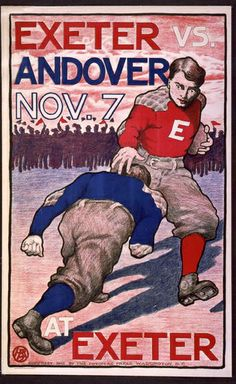 sports, football, vintage, vintage posters, retro prints, graphic design, free download, classic posters, Exeter vs. Andover No. 7 - Vintage...