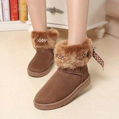 awesome Shoespie Hairy Ribbon Snow Boots