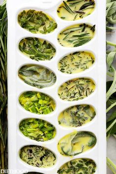 Freeze Fresh Herbs in Olive Oil - Freezing fresh herbs in olive oil is the perfect way to preserve herbs! Cooking Tips, Cooking Recipes, Healthy Recipes, Free Recipes, Soup Recipes, Freezing Fresh Herbs, How To Freeze Herbs, Spices And Herbs, Drying Herbs