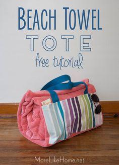 More Like Home: Beach Towel Tote Tutorial
