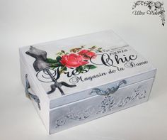 Shabby chic Sewing / knitting needles box, sewing machine, thread, needle,Sewing Supplies, button