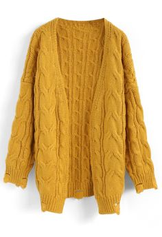 Comfy Day Diary Cable Knit Cardigan in Mustard - New Arrivals - Retro, Indie and Unique Fashion