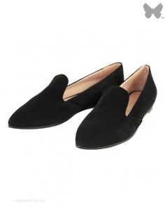 Just Ballerinas Suede Slipper Pump - Black #justballerinas #slipper #pump