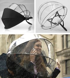 """Nubrella is handsfree and the aerodynamic design blocks the wind and rain"".