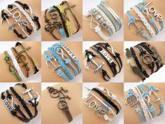 Fashion Infinity Love Charms Leather Wrap Wax Rope European Friendship Bracelet | eBay