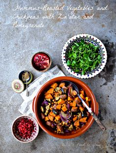 Hummus-Roasted Vegetables with Za'atar and Pomegranate Recipe - food to glow Gluten Free Recipes, Vegetarian Recipes, Healthy Recipes, Roasted Vegetables, Veggies, Pomegranate Recipes, Hummus, A Food, Meal Planning